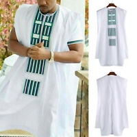 Mens African Dashiki Sleeveless Robe Floral Printed Crew Neck Tank Vest Dress UK