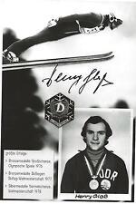 Autogramm AK Henry Glaß Skisprung Skispringer Blonze Olympia 76 DDR handsigniert