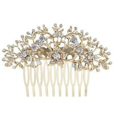 Bridesmaid Bridal Wedding Gold Austrian Crystal Flower Hair Comb Headpiece