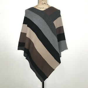 VINCE Womens 100% Cashmere Colorblock Poncho Sweater One Size OS Brown Tan