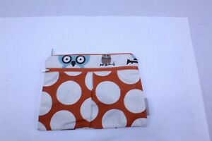 Small Canvas Bag with Vinyl Liner Zip Top Owl Theme Snacks, Pacifiers and More