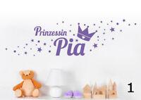 Prinzessin Name Sterne Kinderzimmer Sticker Baby Geburt Wandaufkleber WandTattoo