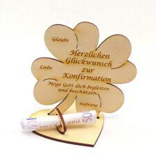 Zur Konfirmation, Geldgeschenk Geldscheinhalter Holz 11 cm Kleeblatt Kirchlich