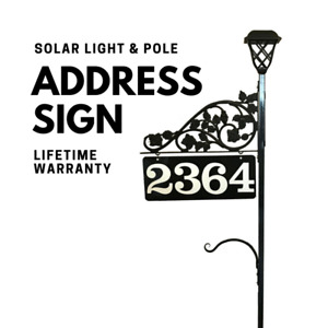 Driveway Address Sign Marker Solar Light Doubled Sided Plant Hook, Scroll & Pole
