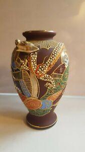 VINTAGE ASIAN JAPANESE DRAGON Porcelain Enameled HAND Painted RELIEF  Vase Urn
