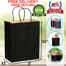 [100 Pcs]-Black Paper Shopping Kraft Retail Merchandise Bags With Handles Bulk .
