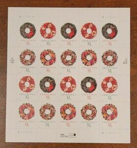 US MINT SHEET SCOTT#3249-52,32C  STAMP CHRISTMAS WREATHS  SHEET OF 20  BCV $50