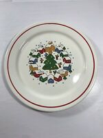 Vintage Christmas Holiday Village Tree Plate White Multicolor Display Decoration