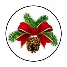 """48 CHRISTMAS PINE CONE BOW ENVELOPE SEALS LABELS STICKERS 1.2"""" ROUND"""