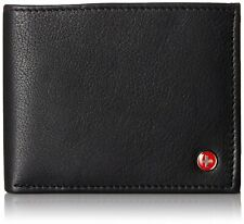 Alpine Swiss Mens RFID Blocking Leather Wallet High Capacity Bifold Black