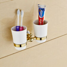 Luxury Gold Brass Wall Mounted Toothbrush Tumbler Holder Bathroom Cup Holder