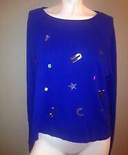 Juicy Couture Blue Embellished Knit Lightweight Sweatshirt Size Extra Large XL