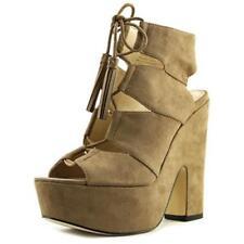 Zapatos de tacón de mujer plataformas de color principal marrón de lona