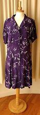 M&S Size UK16-18 EU42 USA12-14 purple print button front midi day dress