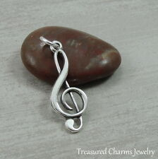 925 Sterling Silver Treble Clef Charm Music Note Musical Pendant NEW