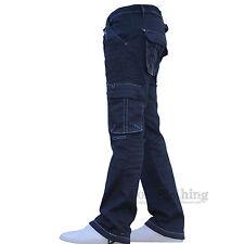 New Mens Designer AD Stretch Cargo Combat Denim Jeans Pants All Waist Leg Sizes
