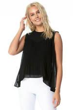 Pleated Chiffon Sleeveless Summer Vest Top Women Roman Originals