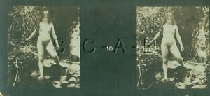 Original Antique B/W Nude Real Photo- Double Stereoscope- Woman Stands on Rocks