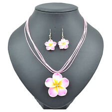 Pink Lovely Girl&Lady Frangipani  Yellow Flower Necklace Earrings Jewelry Sets