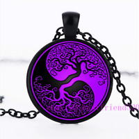 Yin Yang Tree of Life Photo Tibet Silver Cabochon Glass Pendant Chain Necklace