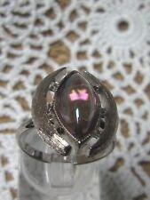 "SARAH COVENTRY Adj.Silvertone Ring w/Oval Iridescent Stone ""Crescent"" #5482 NEW"