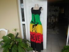Dress Handmade Rasta Color Long Sleeveless One Love M 3 XL UK 12 18 100% cotton