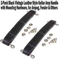2-Pack Black Vintage Leather Style Guitar Amplifier Handle for Fender Ampeg Amp