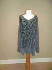 Just my size Women's long sleeve V-neck Hi-low Graphic Tee Gray 5X(30w/32w) NWOT