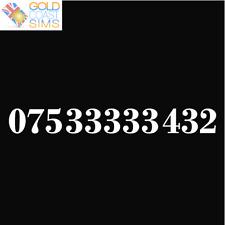 PROMO 075 33333 432 Gold Memorable VIP UK Fancy Mobile Phone Number SIM Card