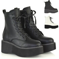 Womens Lace Up Ankle Boots Chunky Platform Ladies Retro Goth Punk Wedge Booties