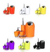 6pc Bathroom Set Elite Waste Bin Soap Dish Dispenser Brush Holder Accessories