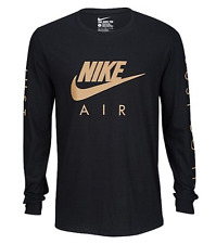 NIKE AIR LS BLACK/GOLD GRAPHIC TEE T SHIRT MENS SIZE X LARGE NWT $38