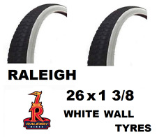2 x RALEIGH 26x1 3/8 White Wall Bike Tyres - Traditional  Cycle Tread Pattern