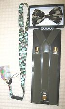 Unisex Men Women CAMO Camouflage Bow Tie+Army Green Suspenders+CAMO Lanyard-New~