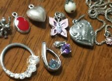 TEN Pc. (10 ) LOT 925 STERLING SILVER PENDANTS WITH SEMI-PRECIOUS STONES & other
