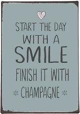 Ib Laursen Metallschild 'Start the day with a smile, finish it with Champagne'
