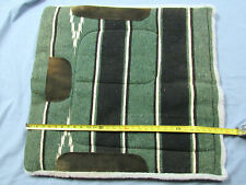 """Nice 30 1/2 by 28 Green, Black and White 1"""" thick Saddle Pad W/ Suede Panels"""