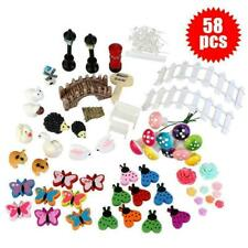 58PCS Fairy Garden Dollhouse Miniature Ornament Kit Storage With Kids Gifts W6Q7