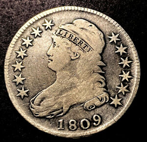 1809 Capped Bust Silver Half Dollar 50c Better Early Date & Rare O-108 R-4