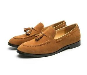 Mens Tassel Pointed toe Suede Slip on Loafers Casual Boat Shoes Driving Gomminos