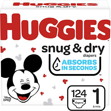 Huggies Snug & Dry Baby Diapers, Size 1, 124 Ct (NEW)