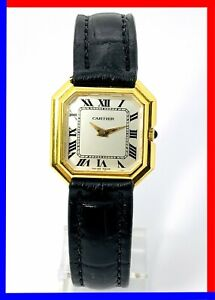 Vintage 70s Cartier Paris Octagon, stepped 18k Electroplated 27 mm, serviced!