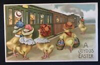Fantasy Easter~Postcard- Dressed~Chicks in Street Car~Trolley~Train~Germany-s804