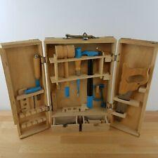 Vintage Child's Tool Set With Storage Box/ Wood Handles/ Poland/ Chisel/ Plane