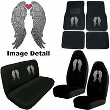 Angel Wings w/Pink Heart Crystal Studded Rhinestone Floor Mats Seat Covers Combo