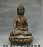 "10,8"" Ancien Tibet Bouddhisme Bronze Doré Shakyamuni Amitabha Bouddha Statue"