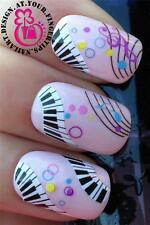 NAIL ART SET WRAPS WATER TRANSFERS STICKERS DECALS PANIO KEYS & MUSIC NOTES #444