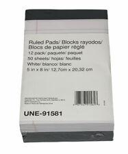 12 Pack 5 X8 Notepads Writing Pads White Narrow Rule 50 Sheetspad