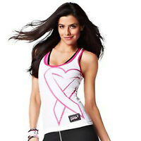 Zumba Dance Fitness Groove for the Cure Racerback Tank Top Shirt - White & Pink