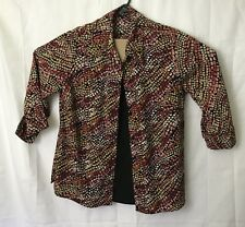 Woman's Multi Colored Button Front  Blouse Size 1X With Attatched Black Cami EUC